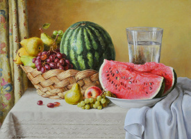 Yuri Viktorovich Kudrin. Still life with watermelon. 2013