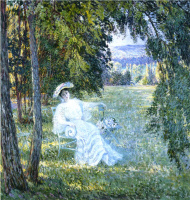 Анри Лебаск. Мадам Виан сидящая в парке