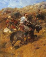 Адольф Шрейер. Арабские воины на склоне холма