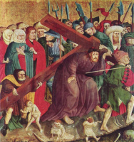Ханс Мульчер. Алтарь Страстей из Вурцаха, левая внутренняя створка, сцена внизу. Несение креста