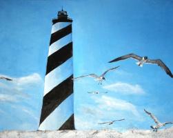 Natalia Stepanova. Lighthouse. Black and white