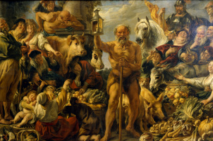 Jacob Jordaens. Diogenes with a lantern on the market looking for people