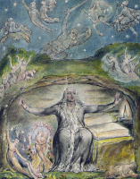 """William Blake. Milton in his old age. Illustrations to the poems of Milton's """"Fun"""" and """"Thoughtful"""""""
