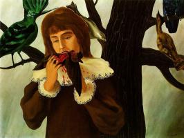 Girl eating a bird
