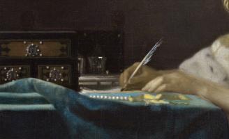 Ян Вермеер. Дама, пишущая письмо. Фрагмент