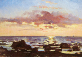 Nikolai Nikolaevich Ge. Sunset on the sea in Livorno