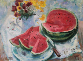 Julia Andreevna Petrova. Study with watermelon