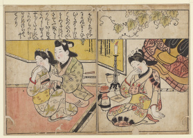 Hishikawa Moronobu. A man and two courtesans. The facing pages from the book