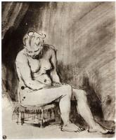Рембрандт Ван Рейн. Обнаженная, сидящая на табуретке