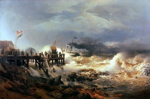 Андреас Ахенбах. Буря на голландском побережье
