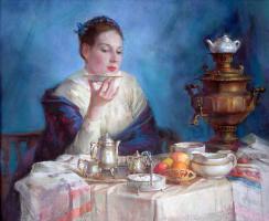 Полина Борисовна Лучанова. Купчиха у самовара.  2003