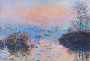 Claude Monet. Sunset over the Seine in Lavacore. Winter effect