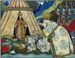 """Ivan Yakovlevich Bilibin. King Dadon in front of the Queen of Shamakhi. Illustration to """"The Tale of the Golden Cockerel"""" by A. S. Pushkin"""
