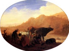 Bamboccio. Herdsmen in a mountainous landscape