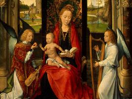 Ганс Мемлинг. Мадонна с младенцем и ангелами. Фрагмент