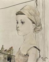Цугухару Фудзита ( Леонар Фужита ). Девушка в полосатом платке