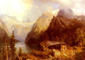 Август Вильгельм Лю. Пастушка и овцы отдыхают на берегу озера в альпийском пейзаже