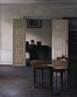 Вильгельм Хаммерсхёй. Интерьер. Ида, играющая на пианино