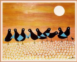Джонатан Уинтерс. Маленькая птица с большими птицами в ромашках