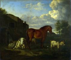 Адриан ван де Вельде. Животные возле здания
