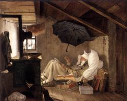 Карл Шпицвег. Бедный поэт (повтор одноименной картины коллекции Новой Пинакотеки Мюнхена)