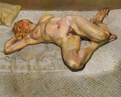 Lucien Freud. Blonde on the bed