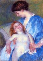 Мэри Кассат. Малышка, с улыбкой смотрящая на маму