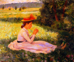 Федерико Дзандоменеги. Отдых на лугу (Девочка в поле)