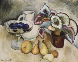 Ilya Ivanovich Mashkov. Still life with a white jug and fruit