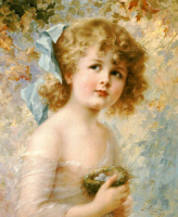 Emile Vernon. Girl holding a nest