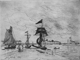Ян Бартолд Йонгкинд. Деревянный мол в гавани Онфлёра