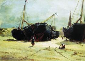 Alexander Karlovich Beggrov. Scheveningen. Repairing fishing vessels. 1877