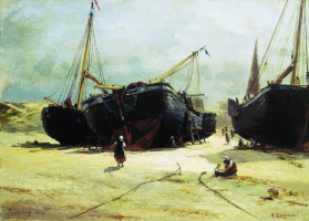 Александр Карлович Беггров. Шевенинген. Починка рыбачьих судов. 1877