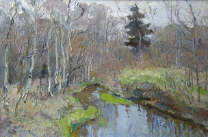 Boris Petrovich Zakharov. The April brook. Elk Island. Etude.
