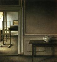 Вильгельм Хаммерсхёй. Интерьер с мольбертом и чашей для пунша