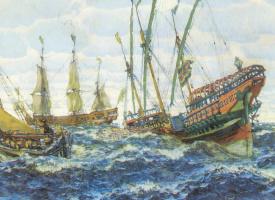Евгений Евгеньевич Лансере. Корабли времен Петра I