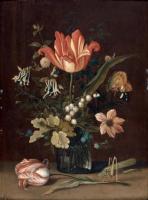 Балтазар ван дер Аст. Букет с тюльпаном и ландышем в стеклянной вазе и кузнечик на тюльпане