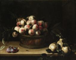 Луиза Муайон. Корзина с персиками, айва и слива.1641