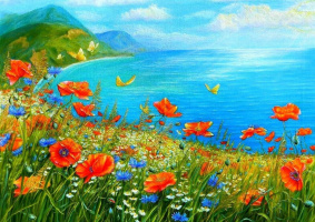Tais. Poppies by the sea