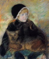 Mary Cassatte. Cassatt Ellen with a big dog