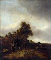 Ван Остаде Йсакк. Пейзаж с крестьянином и корзиной