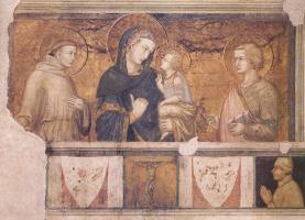 Pietro Lorenzetti. Madonna with Saint Francis and Saint John the Theologian