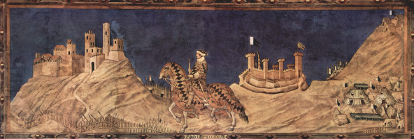 Симоне Мартини. Победоносный полководец Гвидо Риччо да Фольяно. Фреска из Палаццо Пубблико в Сиене