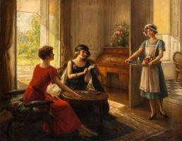 Albert Lynch 1851-1912 Peruvian artist. Tea time.