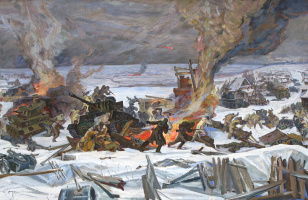 """A sketch of the diorama """"the Defeat of fascist troops near Moscow in area of Yakhroma"""""""