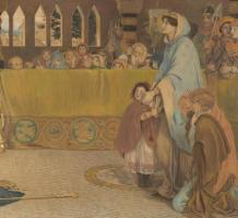 Форд Мэдокс Браун. Крещение Эдвина, короля Нортумбрии. Фрагмент. Королева с детьми
