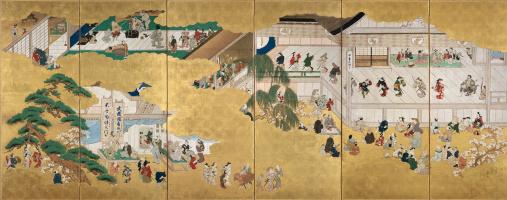 Сцены из театра Кабуки в Накамуре. Роспись ширмы