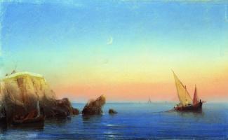 Ivan Aivazovsky. A quiet sea. Rocky shore