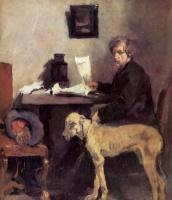 Вильгельм Мария Хубертус Лайбль. Портрет художника Заттлера с его догом