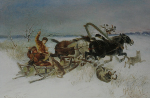 """Petr Petrovich Sokolov. """"The attack of wolves on the Polish pan"""" 1880"""